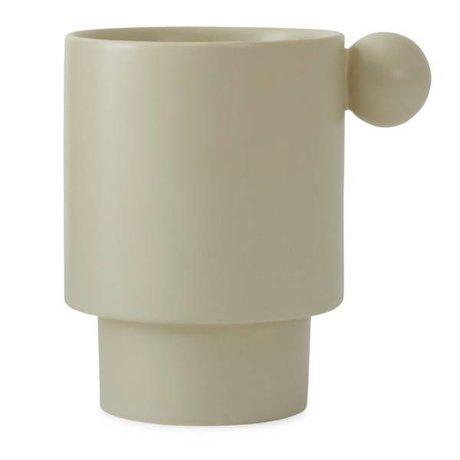OYOY Taza Inka crema-cerámica blanca 7,5x10x10x10,5cm