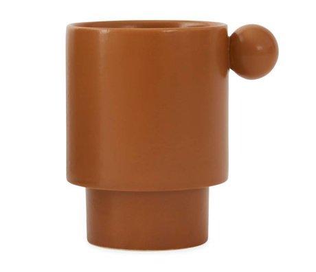 OYOY Tazza in ceramica marrone caramello Inca 7,5x10x10x10,5cm