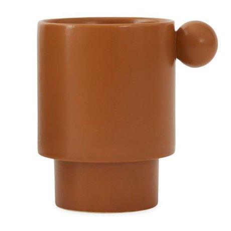 OYOY Coupe Inca en céramique caramel brun 7,5x10x10x10,5cm