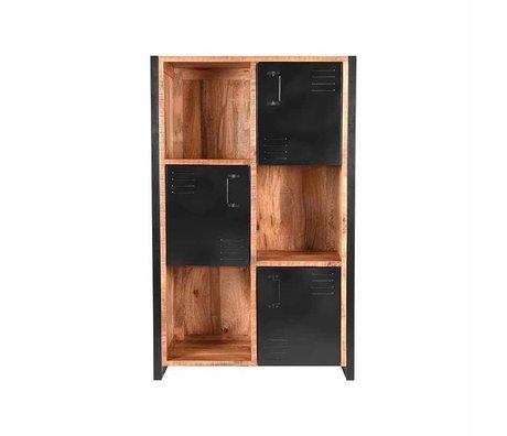 LEF collections Cabinet Bruxelles brun manguier noir métal 100x45x160cm