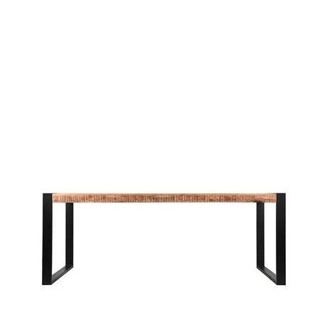 LEF collections Dining table Brussels brown black mango wood metal 160x90x76cm