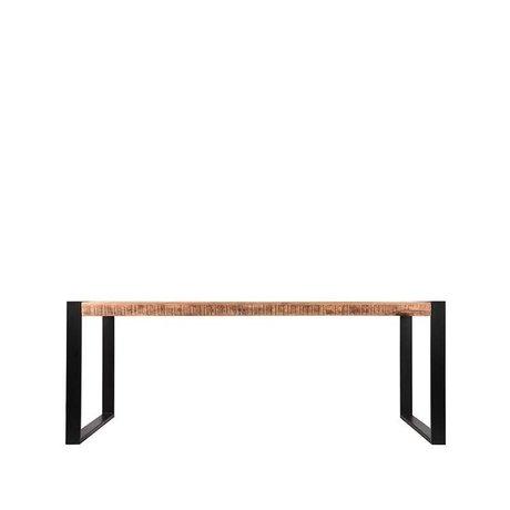 LEF collections Table à manger Bruxelles brun manguier noir métal 160x90x76cm