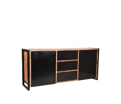 LEF collections Buffet Bruxelles brun en bois de manguier noir métal 190x45x85cm
