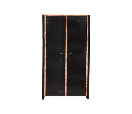 LEF collections Armoire Bruxelles brun manguier noir métal 2 portes 100x45x180cm