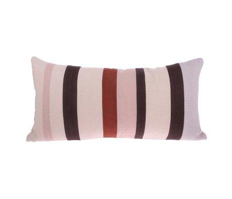 HK-living Pude Striped D pink lilla rødt linned 70x35cm