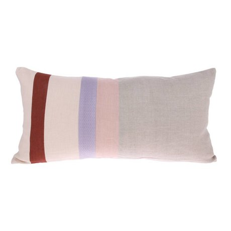 HK-living Cushion Striped B gray multicolored linen 70x35cm