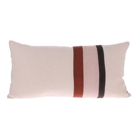 HK-living Cushion Striped A pink multicolored linen 70x35cm