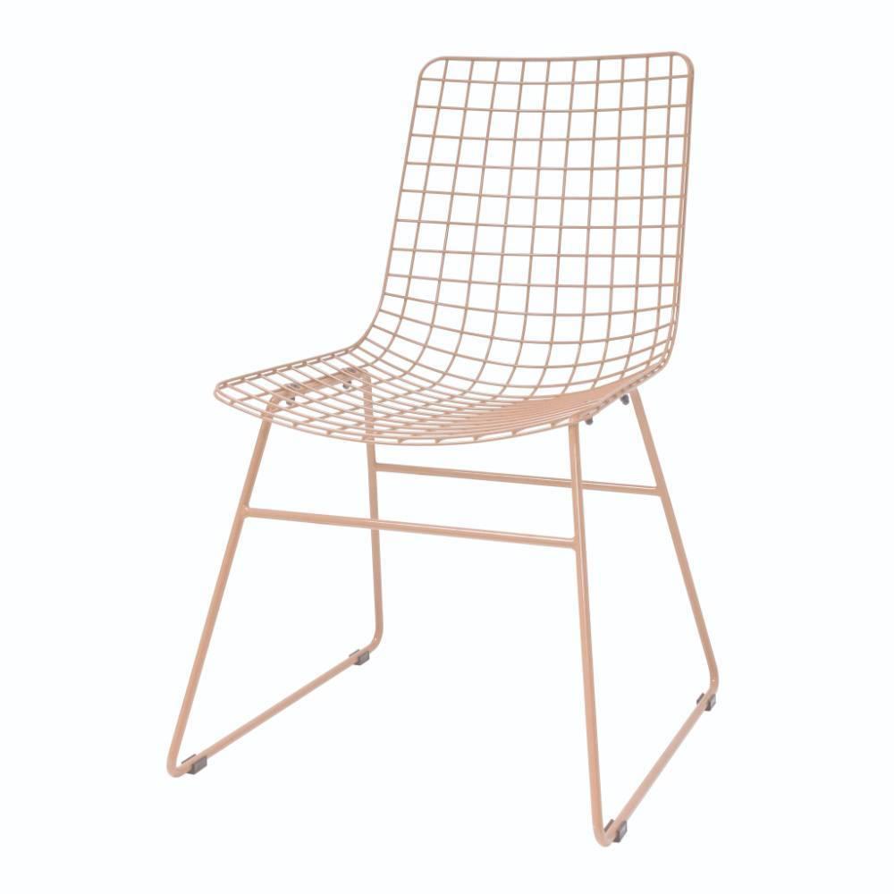 Fil De Peche Rose hk-living chaise de salle à manger fil métallique rose pêche 47x54x86cm