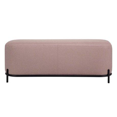 HK-living Hocker alter rosa Textilstahl 120x40x45cm