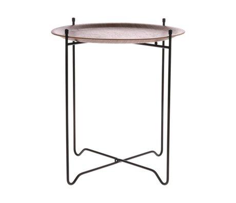 HK-living Table d'appoint noyer marron noir bois métal M Ø43,5x49,5cm