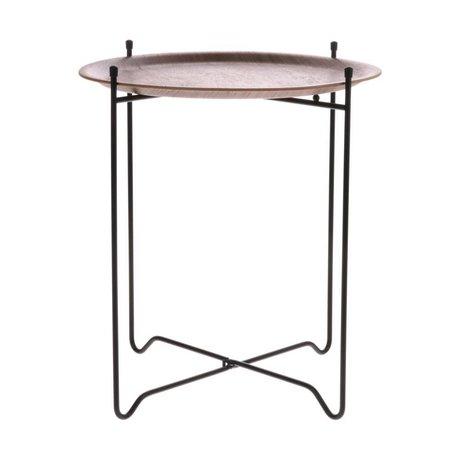 HK-living Side table walnut brown black wood metal M Ø43,5x49,5cm