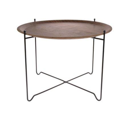 HK-living Mesa auxiliar nogal marrón negro madera metal L Ø60x42cm