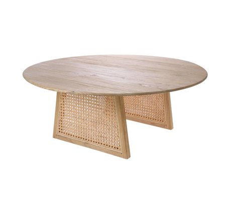 HK-living Table basse Sangles en bois de rotin naturel brun L Ø80x30cm