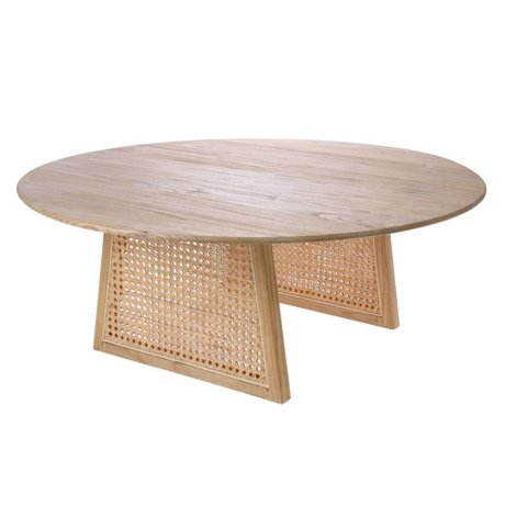 HK-living Coffee table Webbing natural brown Rattan wood L Ø80x30cm