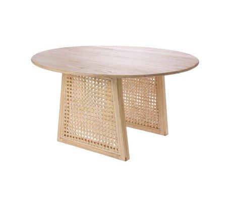 HK-living Table basse Sangles en bois de rotin brun naturel M Ø65x35cm