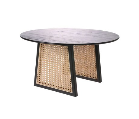 HK-living Coffee table Webbing black brown Rattan wood M Ø65x35cm