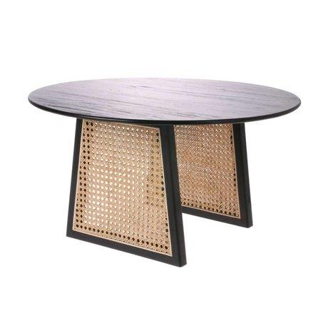 HK-living Mesa de centro Correas negro marrón madera de ratán M Ø65x35cm