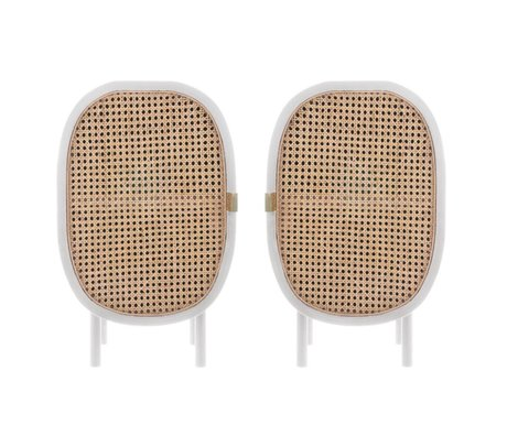 HK-living Bedside table weaving white brown wood Set of 2 38x33x62cm