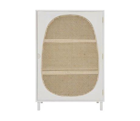 HK-living Cabinet Webbing white wood 85x35x122cm
