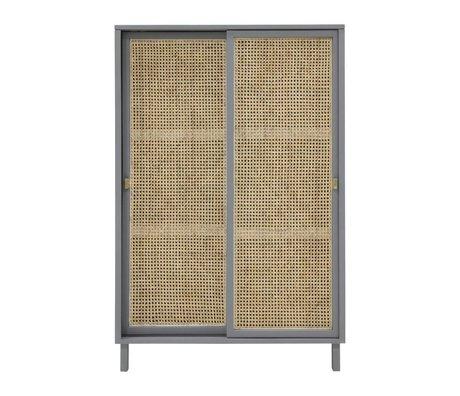 HK-living Schrank Schiebetür Webbing grau braun Holz 95x40x140cm