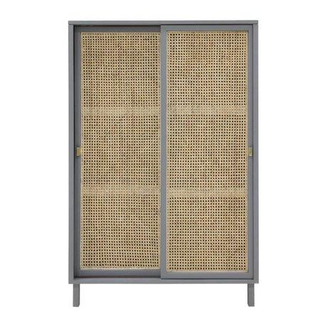 HK-living Armario de puerta corredera Correas gris marrón madera 95x40x140cm