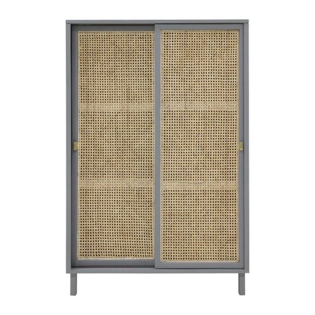 HK-living Wardrobe sliding door Webbing gray brown wood 95x40x140cm