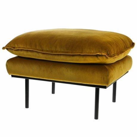 HK-living hk-living stool retro ocher yellow velvet 72x65x46cm