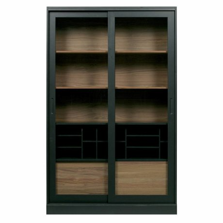 WOOOD James vitrine schrank kiefer schwarz 125x47x200cm