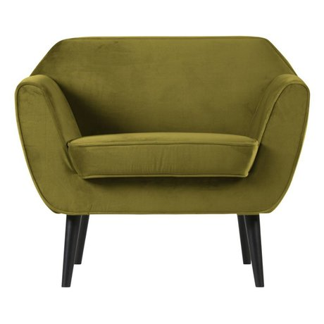 LEF collections Rocco armchair velvet olive green