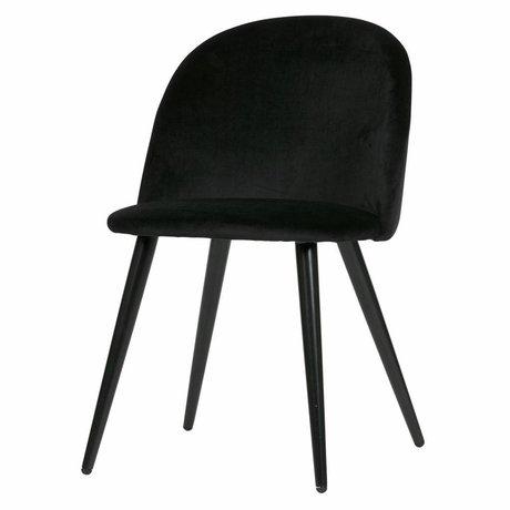 LEF collections Lot de 2 - Chaise de salle à manger fay en velours noir