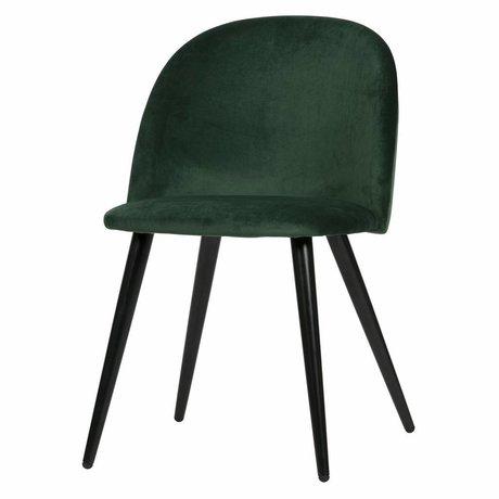 LEF collections Juego de 2 - silla de comedor fay terciopelo verde oscuro