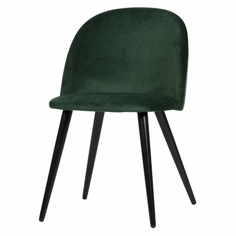 LEF collections Set of 2 - fay dining chair velvet dark green
