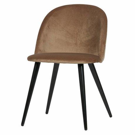 LEF collections Juego de 2 - silla de comedor fay marrón terciopelo