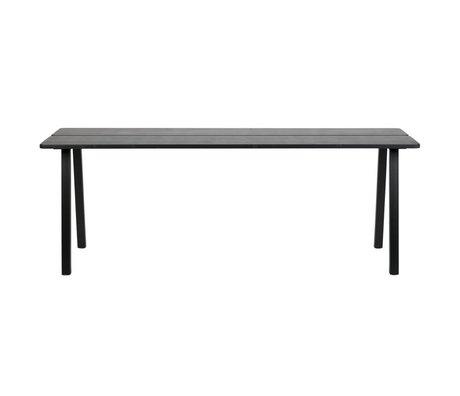 LEF collections Triomf table à manger noire dessus de table en métal pied de table noir