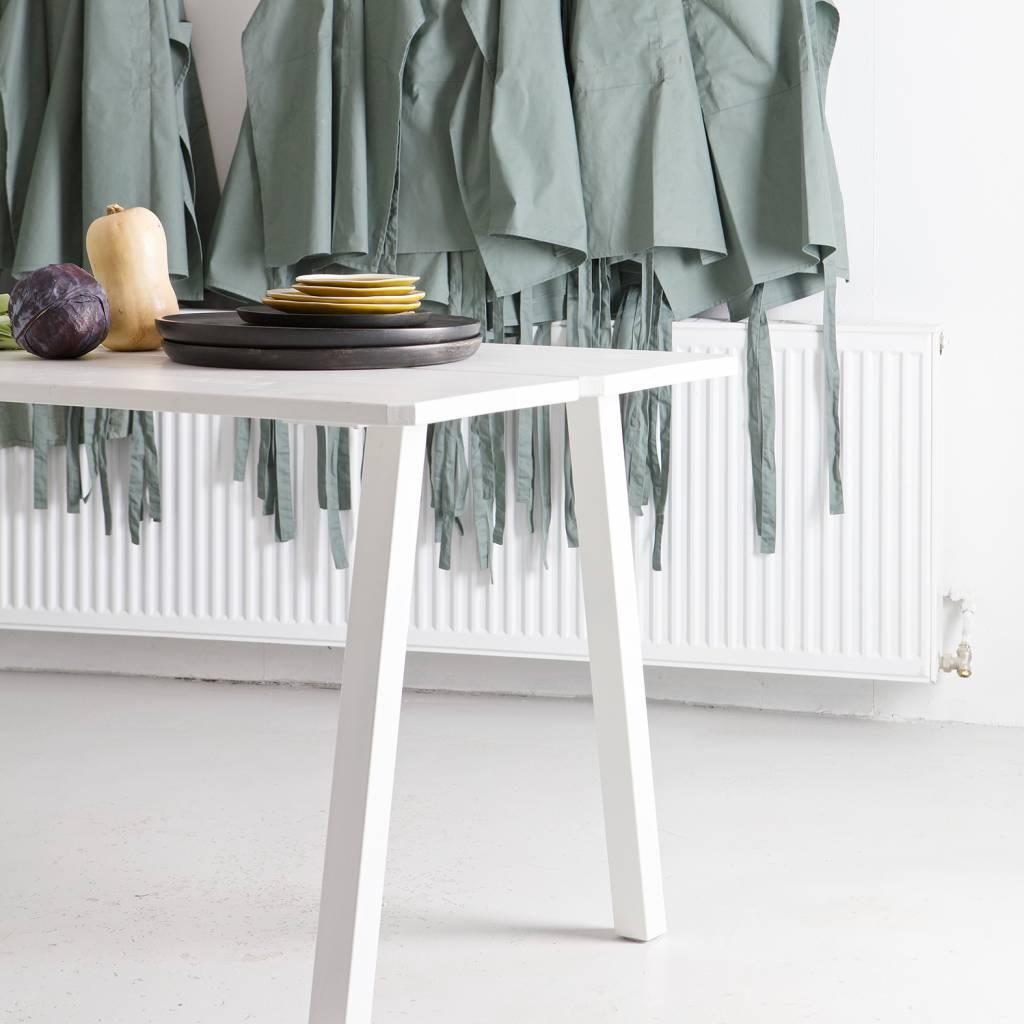 LEF collections Triomf mesa de comedor mesa blanca mesa metal blanco pierna  de mesa