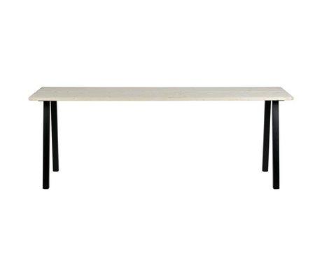 LEF collections Mesa de comedor Triomf mesa de metal sin tratar parte superior de la mesa negra