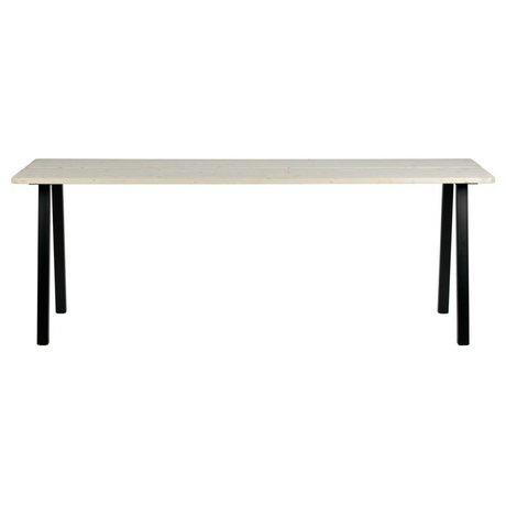 LEF collections Tavolo da pranzo Triomf piano tavolo in metallo non trattato gamba nera