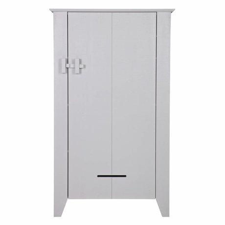 LEF collections Bauernschrank Beton grau grau grau gesägte Kiefer 85x38x142cm