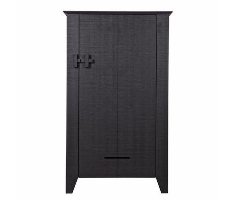 LEF collections Gabinete Gijs pino aserrado negro 85x38x142cm