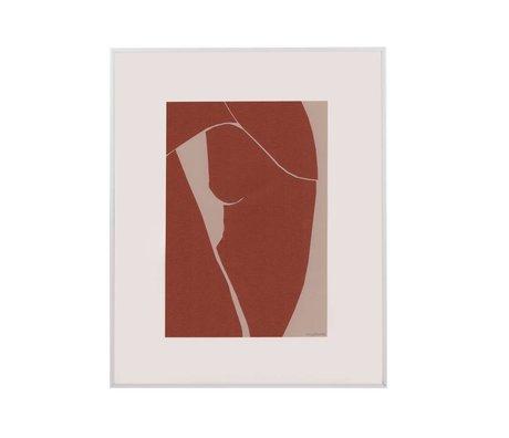 HK-living Cadre Art Tiny Art papier terra blanc métal M 45x50x2cm