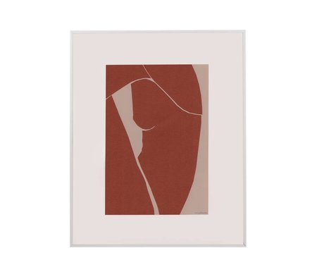 HK-living Kunstramme Tiny Art terra hvidpapir metal M 45x50x2cm