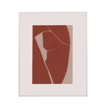 HK-living Kunstrahmen Tiny Art terra weißes Papier Metall M 45x50x2cm