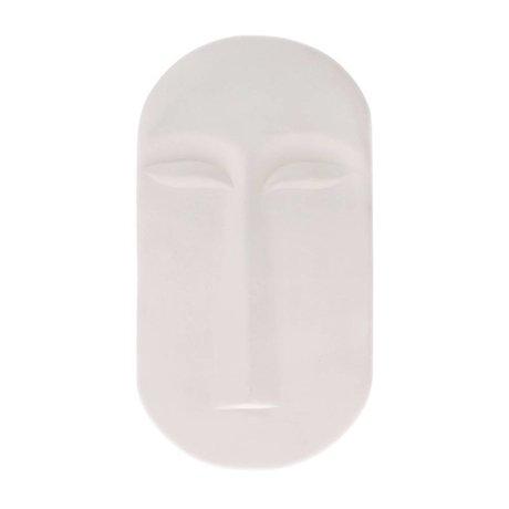 HK-living Ornament mask wall matt white ceramic 13x2x23,5cm