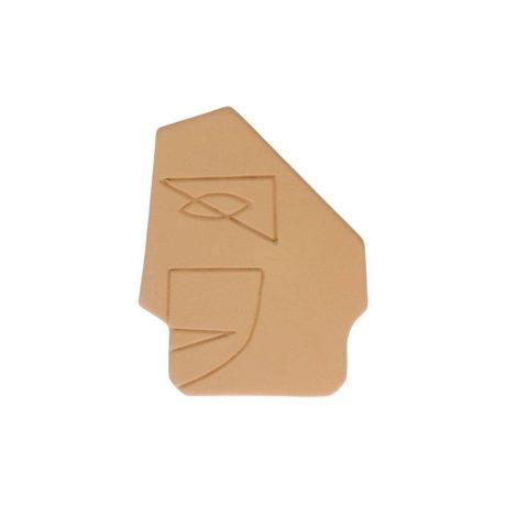 HK-living Ornament Stirnwand Senf gelbe Keramik S 12,5x1x15cm