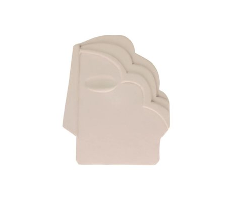 HK-living Ornament face wall matte cream white ceramic M 15x1x18,5cm