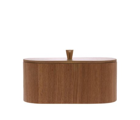 HK-living Tray willow brown wood 23x11x10cm