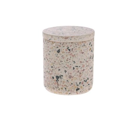HK-living Opbevaringskande Terrazzo pink flerfarvet beton S Ø8,2x9,8cm