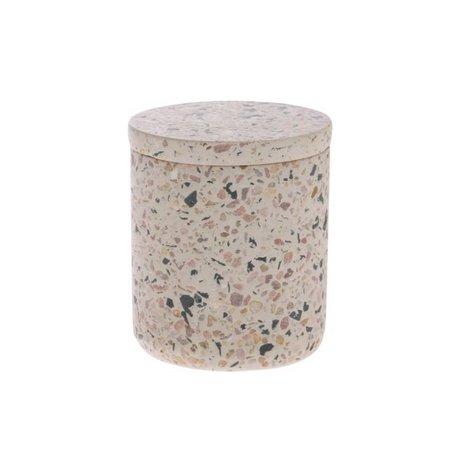 HK-living Pot de rangement en béton multicolore rose Terrazzo S Ø8,2x9,8cm