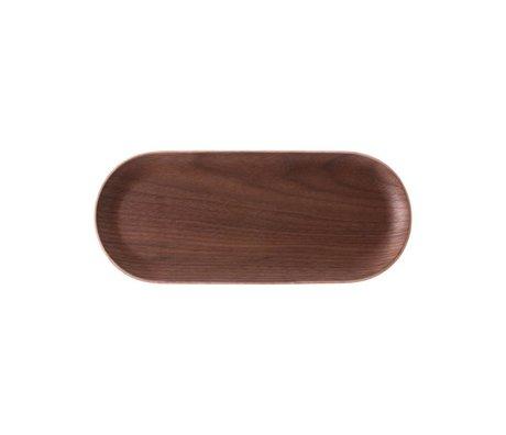 HK-living Vassoio ovale in legno di noce marrone 23x10x1,5cm