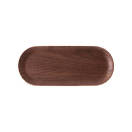 HK-living Plateau ovale en bois brun noyer 23x10x1,5cm